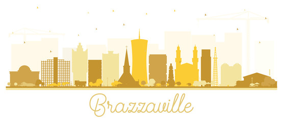Brazzaville Republic of Congo City Skyline Silhouette with Golden Buildings Isolated on White.