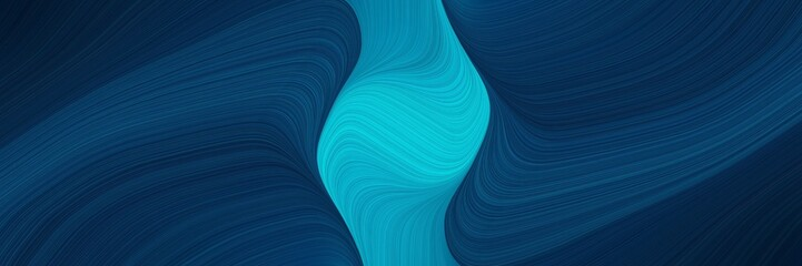 colorful horizontal header with very dark blue, dark turquoise and dark cyan colors. dynamic curved lines with fluid flowing waves and curves