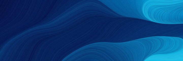 Foto auf Gartenposter Abstrakte Welle artistic horizontal header with midnight blue, light sea green and strong blue colors. dynamic curved lines with fluid flowing waves and curves