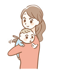 Illustration of baby burping after breastfeeding