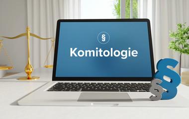Obraz Komitologie – Recht, Gesetz, Internet. Laptop im Büro mit Begriff auf dem Monitor. Paragraf und Waage. . - fototapety do salonu
