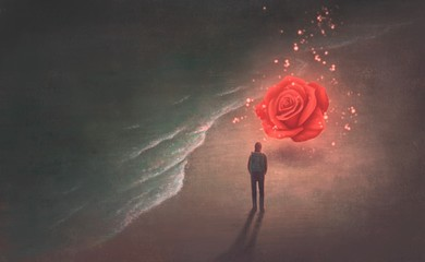 Rose on the beach, surreal artwork Fotomurales