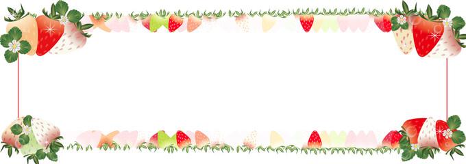 いちごとイチゴの花や葉を飾ったイラストの横スタイルバナー素材