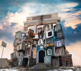 Fototapeta An unusual old house assembled from elements of ancient housing. obraz
