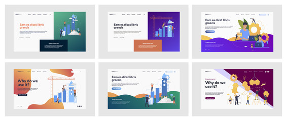 Set of business people building mechanisms. Flat vector illustrations of men and women creating and designing projects. Development and business concept for banner, website design or landing web page Fotomurales