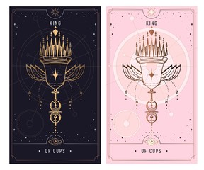 of cups. Minor Arcana secret card, black with gold and silver card, pink with gold, illustration with mystical symbols. Isolated vector illustration on a white background.