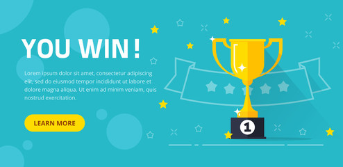 Winner success award web banner or competition achievement cup win background vector illustration flat cartoon, idea of first place prize flyer, contest champion trophy website backdrop template