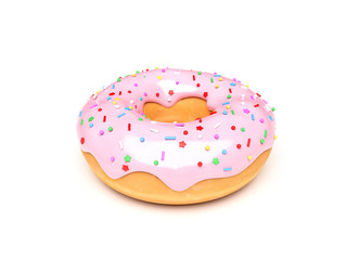 Donut with pink icing. 3d rendering illustration