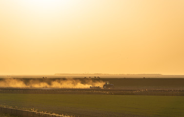 A tractor cultivating farmland in the last sunlight. Groningen, Holland.