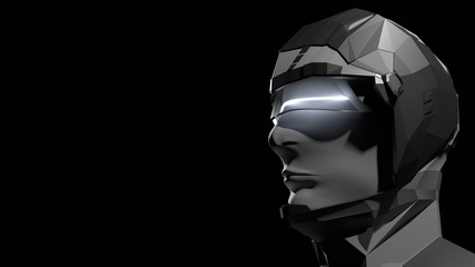 3D Rendering of high tech half robot half human. Cyborg android integration. Concept for future cop or police, artificial intelligence, robotic prosthetic, sci fi laboratory,  humanoid,  ai trading