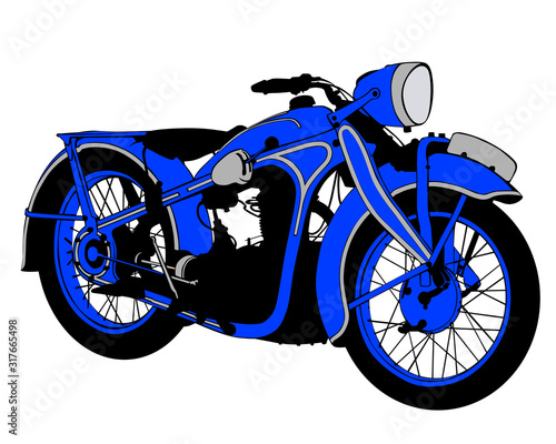 Wall mural Retro sport motorcycle on white background