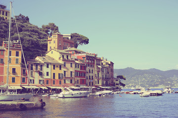 Beautiful view with ships and boats in Portofino in Italy