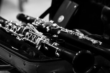 Wall Mural - Clarinets close-up in black and white