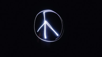 Blurred photo, Light painting peace symbol images background, Writing symbolic from light into darkness, with soft focus
