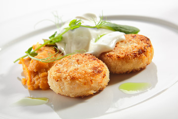 Halibut Cutlets or Fish Cakes with Cream Cheese Isolated