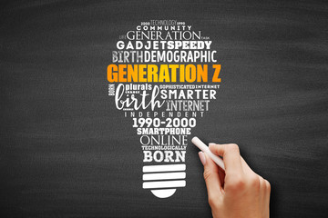 Generation Z light bulb Word Cloud collage, concept background