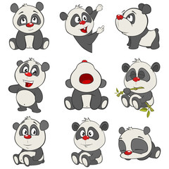Canvas Prints Baby room Vector Illustration of a set of Funny Panda Bear. Cartoon Character