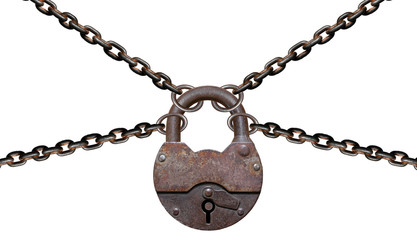 Rusty padlock with chains isolated on white background