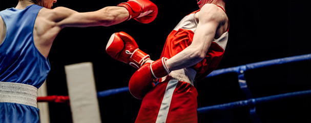 Obraz boxing match in ring boxer lands right jab to opponent - fototapety do salonu
