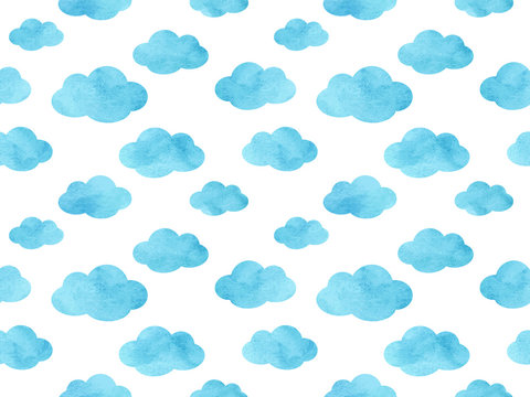 Watercolor Cloud Pattern - Endless Vector Background