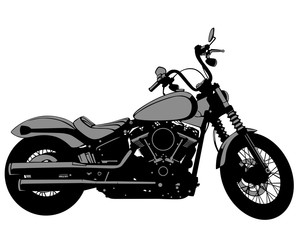 Wall Mural - Retro motorcycle one white background. Isolated silhouettes