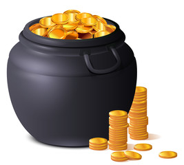 Big black pot full of gold coins. Treasure luck St. Patrick's Day