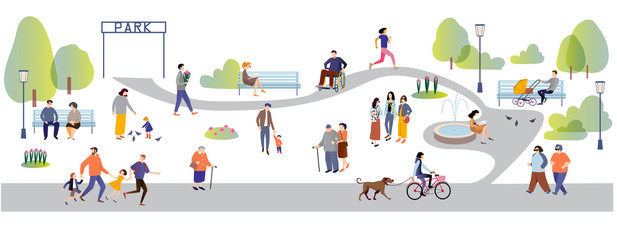 People in the park flat cartoon vector illustration. Wall mural