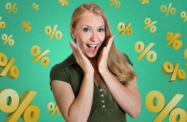 discount woman happy excitement surprise sale percent