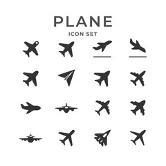 Set glyph icons of plane