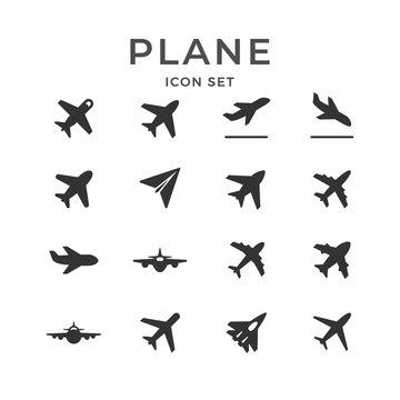 Set glyph icons of plane