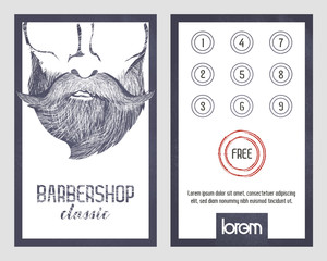 Card with loyalty program for customers of Barbershops, harcut salon, stylists etc.