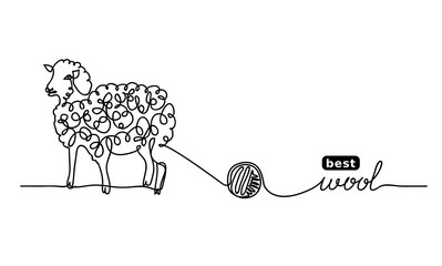 Sheep  best, finest wool. Vector label design, simple background. One continuous line drawing of sheep and wool.