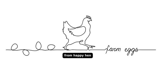 Hen or chicken vector outline,doodle with eggs. Farm eggs lettering, text. One continuous line drawing. Minimal, simple background for label design.