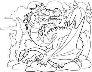 cartoon carnivorous dragon, coloring book, funny illustration