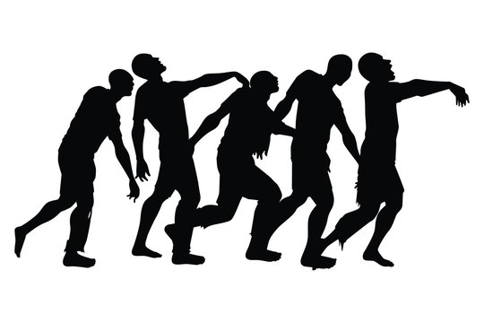 Zombie silhouette vector on white background