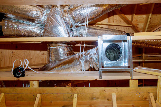 Construction new home with installed of HVAC vent in roofing