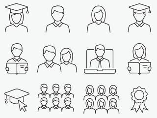 Students line icons set. Black vector illustration. Editable stroke.