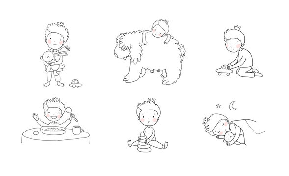 Cute cartoon baby playing with toys and a dog. Cute boy eats porridge and sleeps. little prince