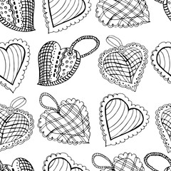 Seamless pattern with  hand drawn sketch of sewing  hearts. Mono