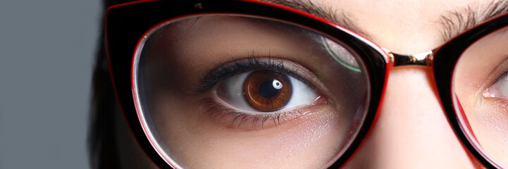 Poster Iris Close-up view of female right eye wearing glasses