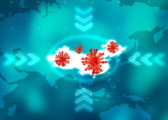 Microscopic view of Coronavirus, a pathogen that attacks the respiratory tract. Analysis and test, experimentation. Sars. Contagion, 3d render. Infectious disease. World map with China highlight