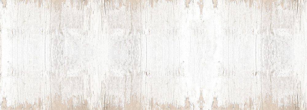 old white painted exfoliate rustic bright light wooden texture - wood background banner panorama shabby vintage