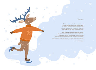 Festive cute deer ice skating with place for text.