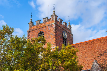 Pangbourne, Berkshire, England. October 29 2011 St. James the Less church tower