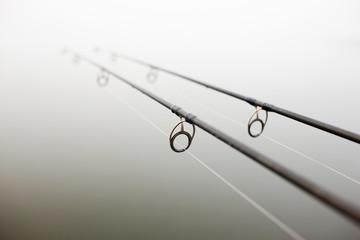 Printed kitchen splashbacks Fishing fishing rod with rings fishing in the fog