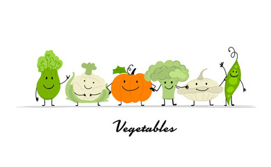 Funny smiling vegetables, character for your design