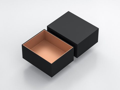 Black Box Mockup with opened cover and golden cardboard inside