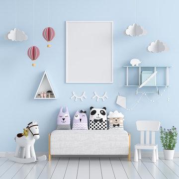 Blank photo frame for mockup in blue living room
