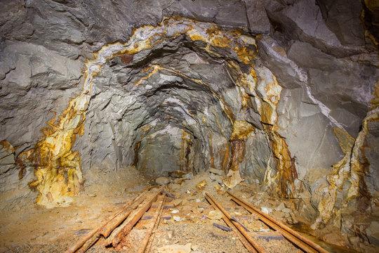 Old gold mine underground tunnel