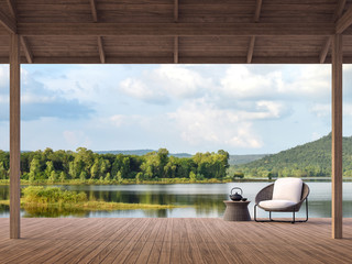 Wood terrace with beautiful lake and mountain view 3d render,There are old wood terrace floor,Decorate with rattan lounge chair,Surrounded by nature